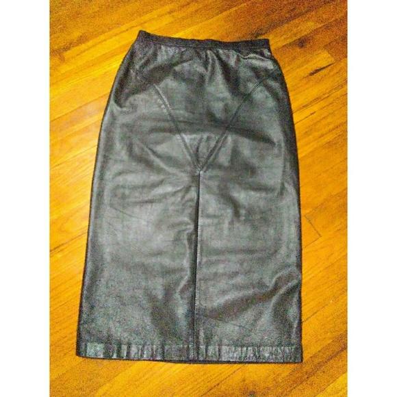 Vintage Dresses & Skirts - Vintage Leather Pencil Skirt